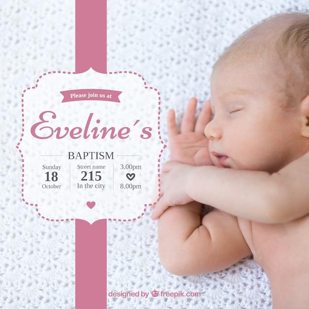 Invito di battesimo, nastro rosa Vettore Premium