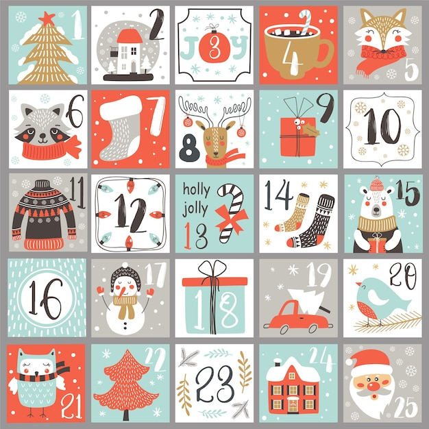 Calendario dell'avvento di natale con elementi disegnati a mano. poster di natale. Vettore Premium