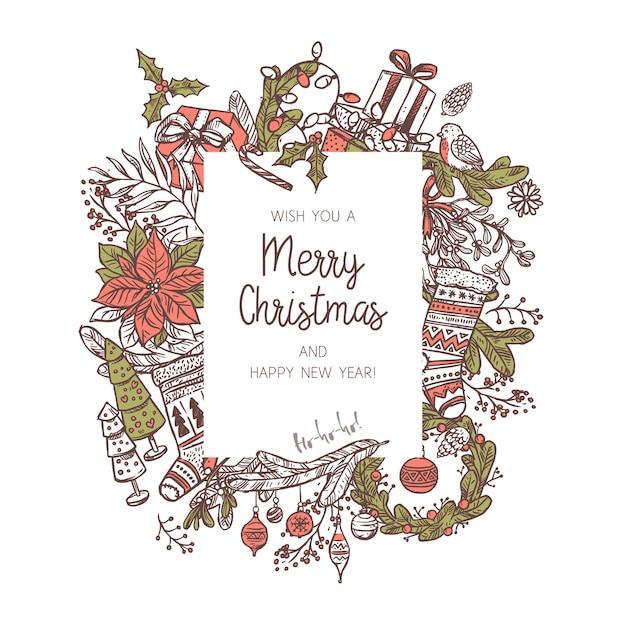 Sfondo di natale realizzato con diverse icone ed elementi festivi. scarabocchiare vischio, calze, rami di abete e abete rosso, ghirlanda, campana, scatole regalo, candela. cornice vacanza festiva Vettore Premium