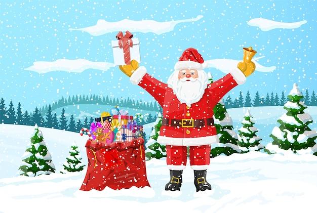 Sfondo di natale. babbo natale con borsa con doni. paesaggio invernale con foresta di abeti e nevica. felice anno nuovo celebrazione. vacanze di natale di capodanno. Vettore Premium