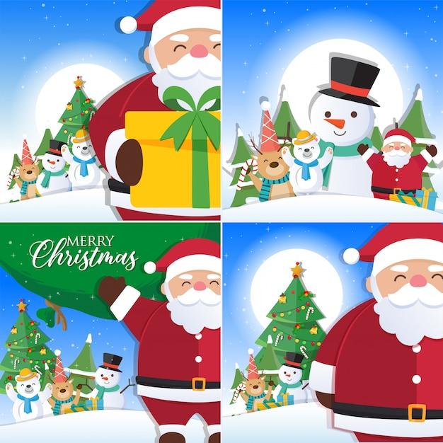 Decorazioni Natalizie 94.La Priorita Bassa Di Natale Ha Impostato Con La Decorazione Di Natale E Del Babbo Natale Vettore Premium