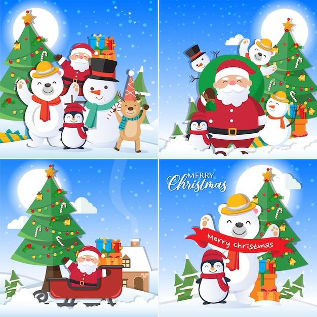 Decorazioni Natalizie 94.Sfondo Di Natale Impostato Con Decorazioni Di Babbo Natale E Buon Natale Vettore Premium