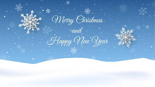 Foto Con La Neve Di Natale.Sfondo Di Natale Con La Neve Che Cade Biglietto Di Auguri Di Capodanno Vettore Premium