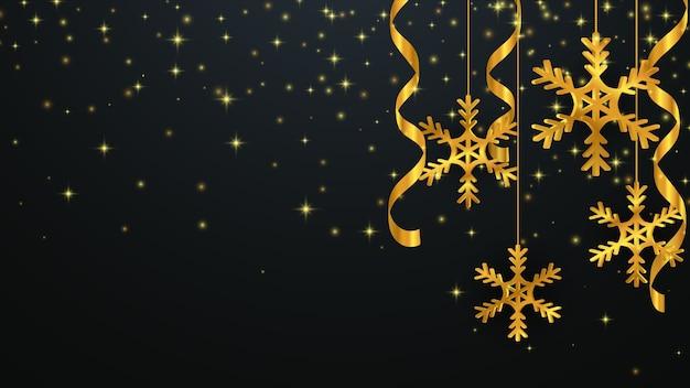 Sfondo di natale con fiocchi di neve d'oro. sfondo di capodanno. Vettore Premium