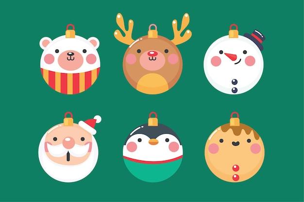 Ornamenti di palla di natale in design piatto Vettore Premium