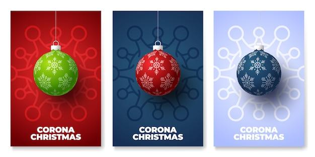 Set di poster di pericolo di coronavirus palla di natale e quarantena Vettore Premium