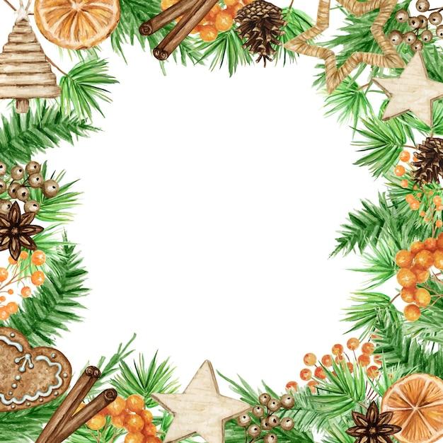 Cornice natalizia boho con rami di pino, bastoncino di cannella, anice stellato, arancia. bordi dell'acquerello dell'annata Vettore Premium