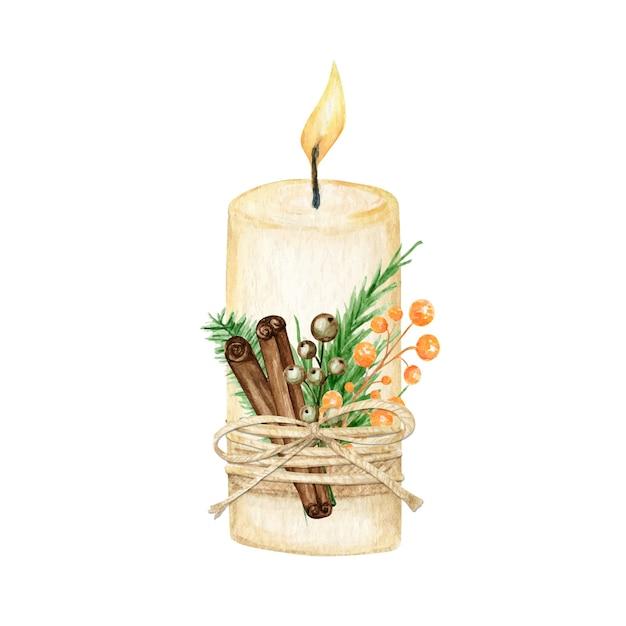 Candela natalizia con decorazione a fiamma stile boho con rami di pino, stecca di cannella, anice stellato. Vettore Premium