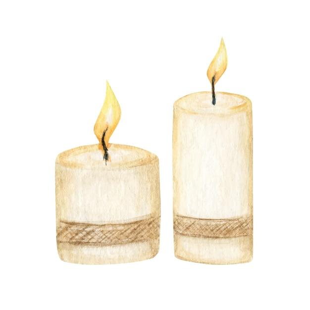 Candela di natale con una fiamma impostata. illustrazione isolata candela di cera bruciante dell'acquerello. Vettore Premium