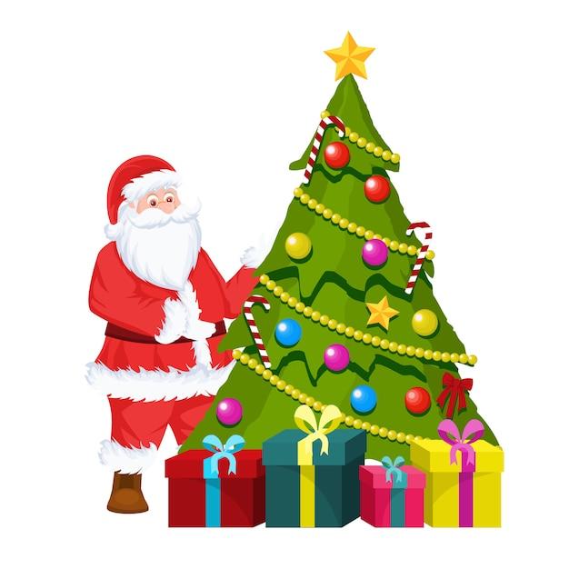 Albero Di Natale E Babbo Natale.Cartolina Di Natale Di Babbo Natale E Albero Di Natale Vettore Premium