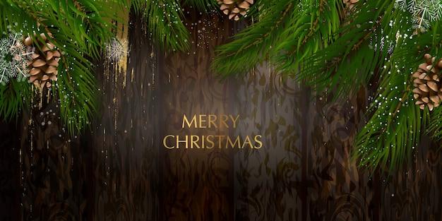 Cartolina di natale con una composizione di elementi festivi come la stella d'oro Vettore Premium