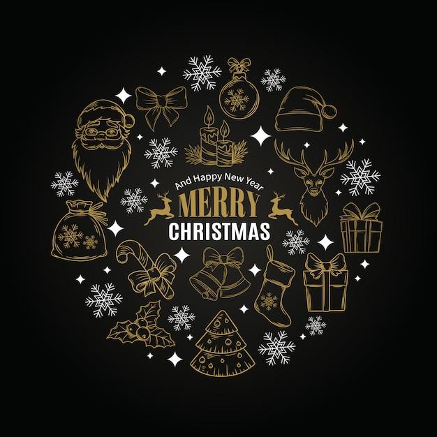 Cartolina di natale con icone decorative Vettore Premium