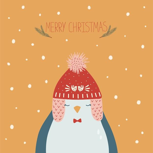 Cartolina di natale con pinguino nel cappello e lettere scritte a mano Vettore Premium