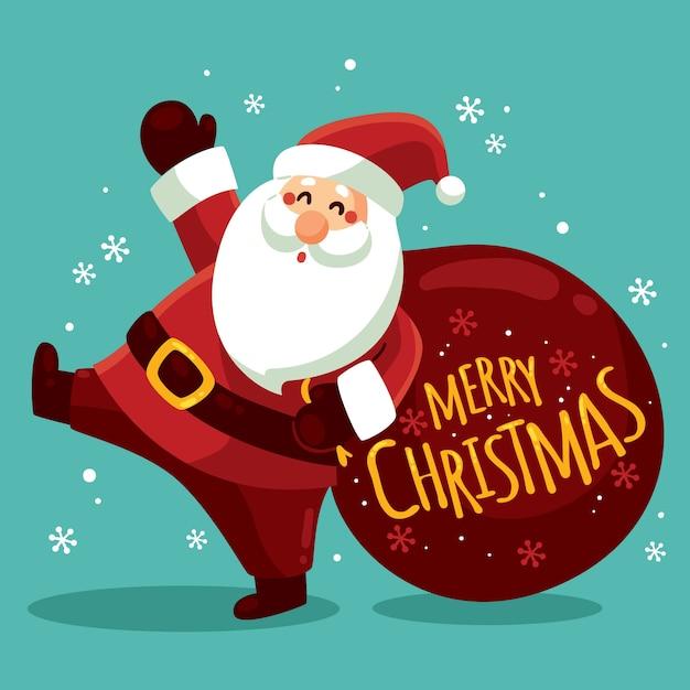 Personaggio natalizio con scritte Vettore Premium
