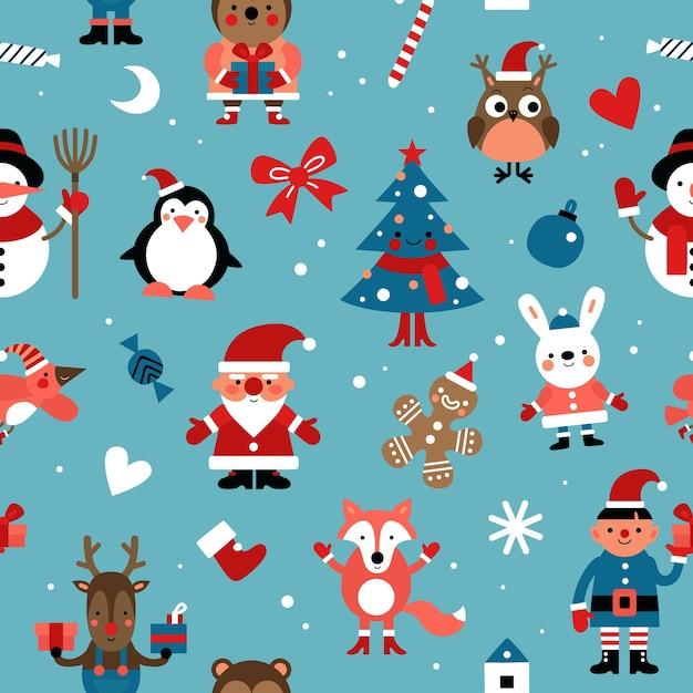 Modello senza cuciture di personaggi natalizi. babbo natale, omino di marzapane e coniglio, elfo e cervo, volpe. Vettore Premium