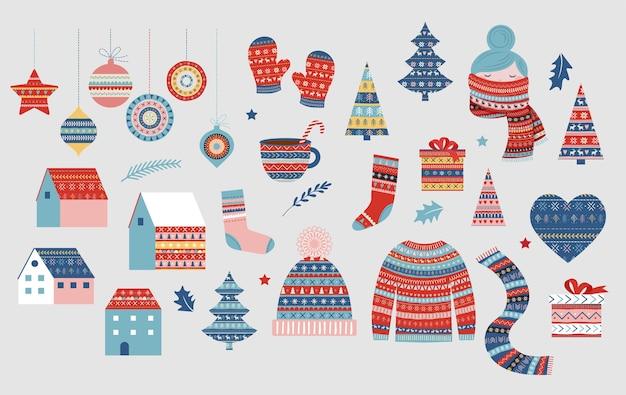 Collezione natalizia di illustrazioni, elementi fantasia invernali. maglione, ragazza con sciarpa, cappello lavorato a maglia, decorazioni, villaggio. Vettore Premium