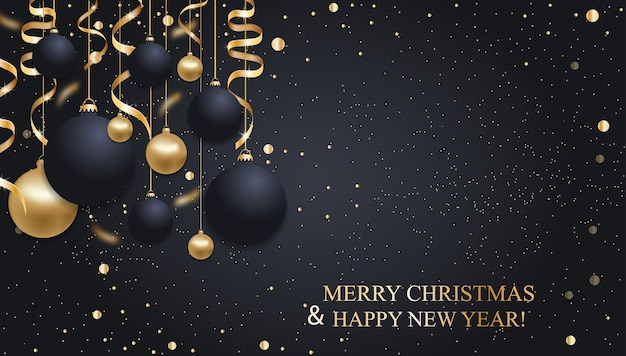 Sfondo blu scuro di natale con palle di natale e nastri dorati. decorazione di felice anno nuovo. Vettore Premium