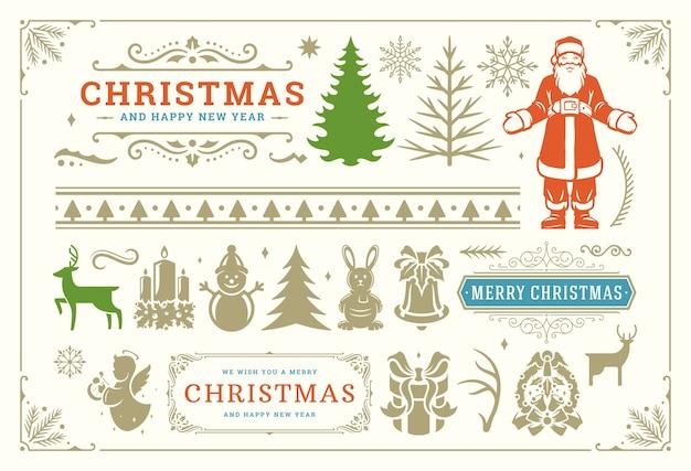 Simboli di decorazione natalizia con turbinii decorati e icone per etichette, banner e biglietti di auguri, elementi impostati con ornamenti. Vettore Premium