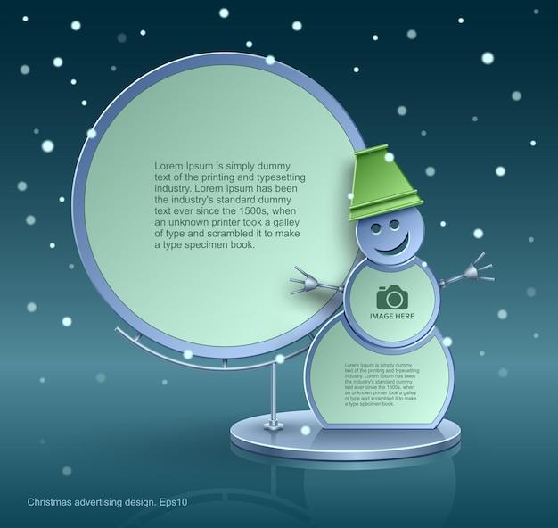 Design natalizio, pupazzo di neve Vettore Premium