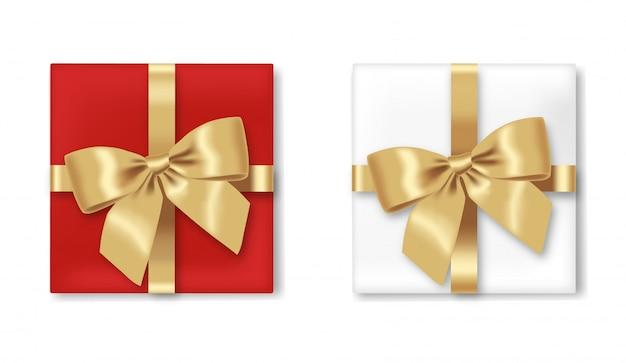 Regalo di natale, casella realistica ed arco, nastro isolato, festa felice, buon natale, illustrazione bianca stabilita del fondo del regalo Vettore Premium