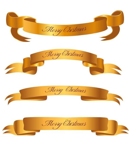 Collezione di nastri d'oro di natale Vettore Premium