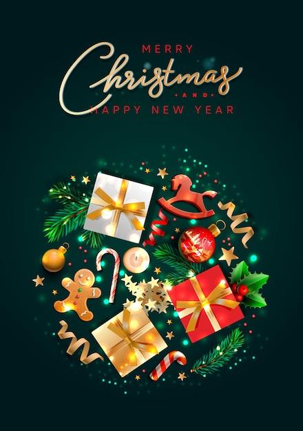Biglietto di auguri di natale con oggetti per le vacanze. buon natale e felice anno nuovo. Vettore Premium