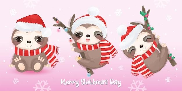 Auguri di natale con bradipo carino bambino. illustrazione di natale. Vettore Premium