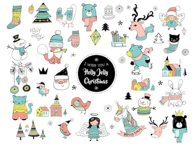 Doodles, adesivi, illustrazioni ed elementi carini disegnati a mano di natale Vettore Premium