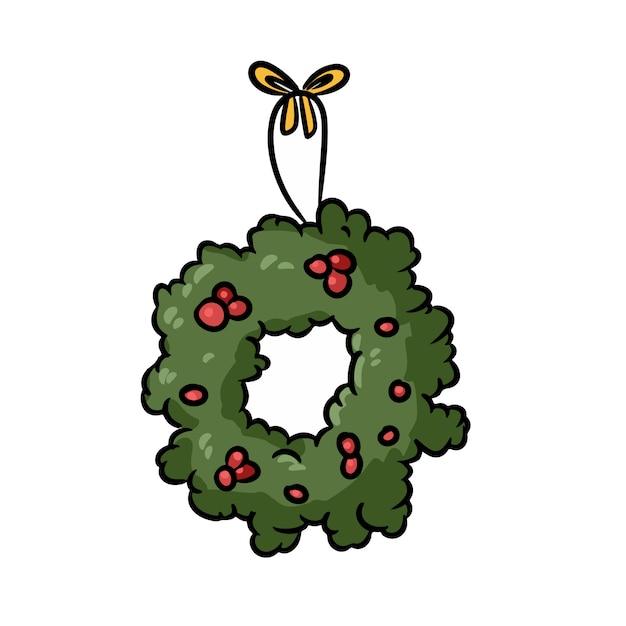 Ghirlanda di agrifoglio di doodle disegnato a mano di natale. illustrazione di vacanza invernale Vettore Premium
