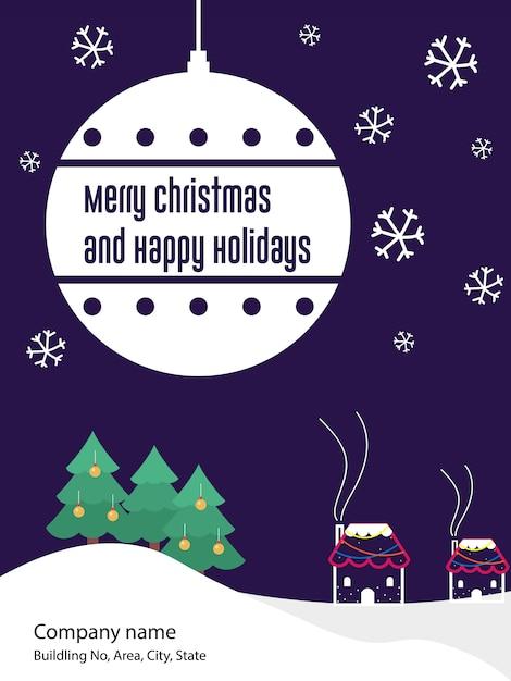 Cartolina d'auguri dell'invito dell'aletta di filatoio del buon anno e di natale Vettore Premium