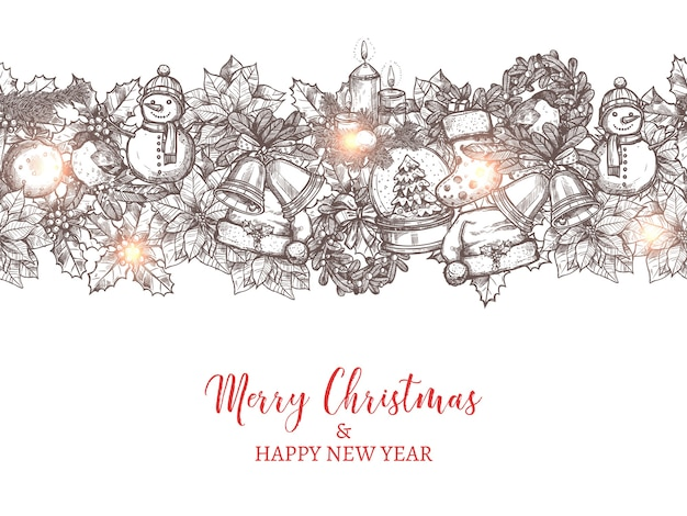 Natale e felice anno nuovo modello senza cuciture sotto forma di confine realizzato con icone disegnate a mano festive e vacanze. Vettore Premium
