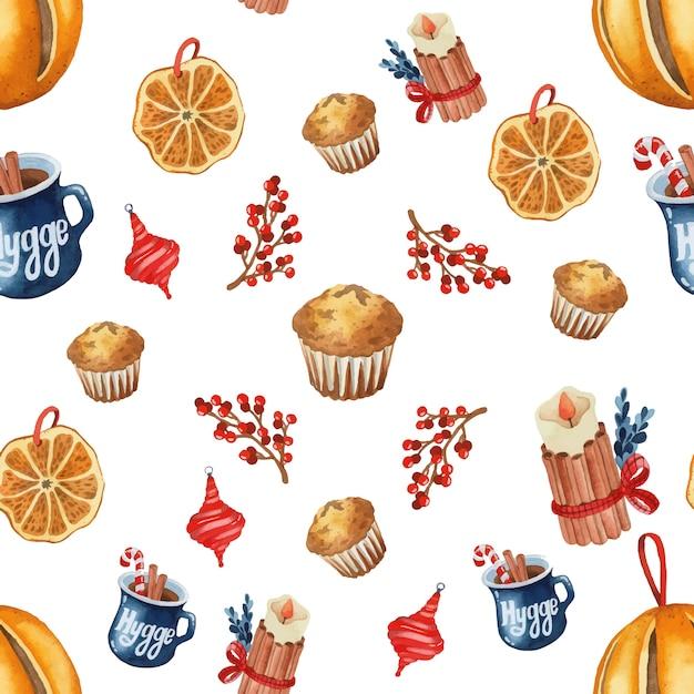 Natale hygge rustico seamless pattern acquerello Vettore Premium