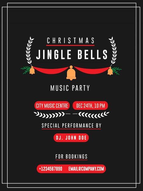 Carta di invito di natale jingle bells music party flyers Vettore Premium