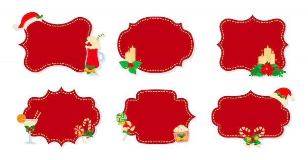 Natale etichetta e tag set piatto. etichette rosse della toppa di natale della raccolta di festa del fumetto. etichette di natale decorate oggetti, agrifoglio vischio, biscotti caramelle. collezione di capodanno. illustrazione Vettore Premium