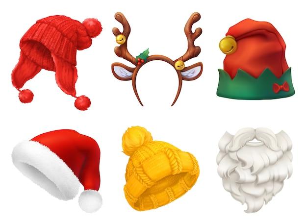 Set maschera e cappello di natale Vettore Premium