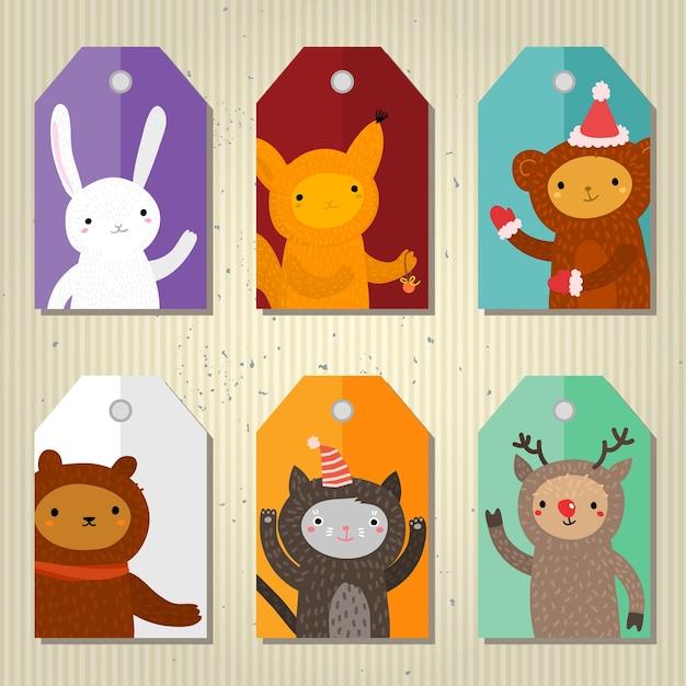 Etichette regalo carino di natale e capodanno con animali dei cartoni animati. design piatto, illustrazione vettoriale Vettore Premium