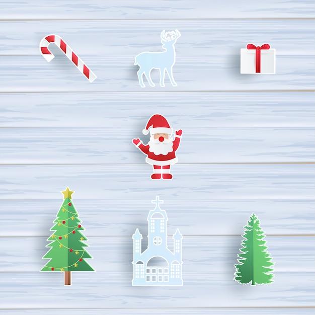 Collezione di oggetti natalizi con babbo natale, albero di natale, renne, regalo Vettore Premium