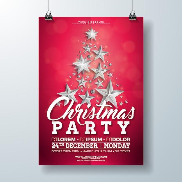 Illustrazione dell'aletta di filatoio della festa di natale con le stelle d'argento e l'iscrizione di tipografia Vettore Premium