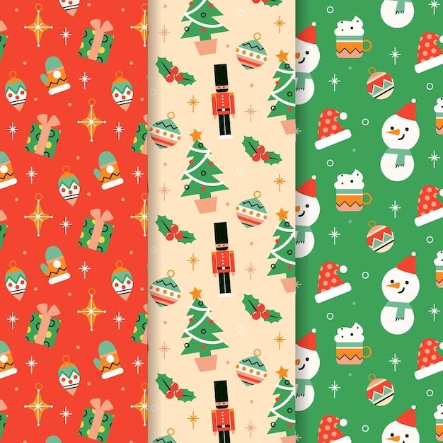 Collezione di motivi natalizi in design piatto Vettore Premium