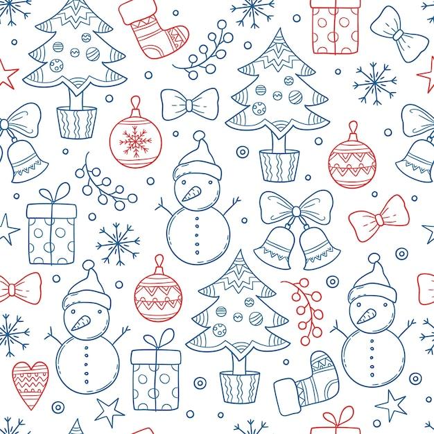 Motivo natalizio. fiocchi di neve grafici di stagione invernale vestiti regali stelle candele alberi pupazzo di neve guanti vettore sfondo senza giunture. natale ripetizione senza soluzione di continuità, calzini e illustrazione abbozzata del pupazzo di neve Vettore Premium