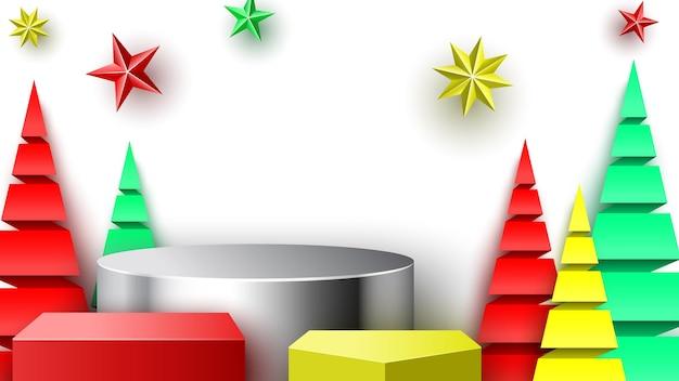 Podio di natale con stelle e alberi di carta. stand espositivo. piedistallo. illustrazione vettoriale. Vettore Premium