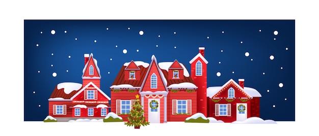 Cartolina di natale con facciate di edifici rossi, albero di natale decorato, neve. bandiera di architettura festiva vacanza con via della città di sera. cartolina di natale e capodanno 2021 casa noel Vettore Premium