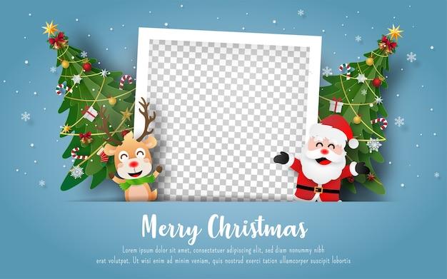 Cartolina di natale con pupazzo di neve e cornice vuota Vettore Premium