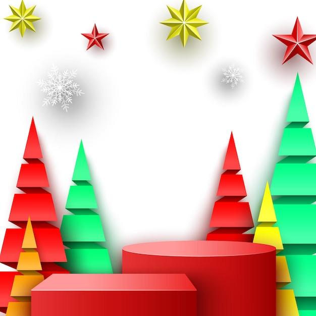 Podio rosso di natale con stelle, fiocchi di neve e alberi di carta. stand espositivo. piedistallo. illustrazione vettoriale. Vettore Premium
