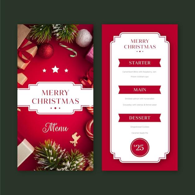 Modello di menu del ristorante di natale con foto Vettore Premium