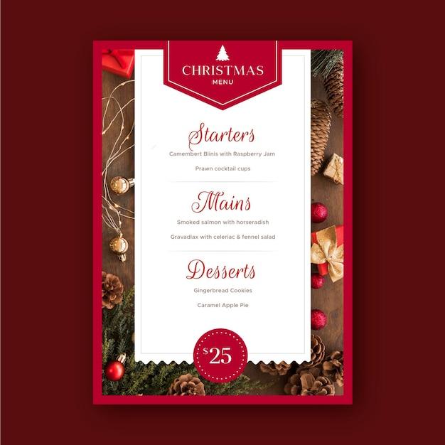 Modello di menu del ristorante di natale Vettore Premium
