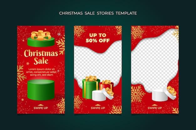 Raccolta di modelli di frame di storie di vendita di natale. per banner di social media. Vettore Premium