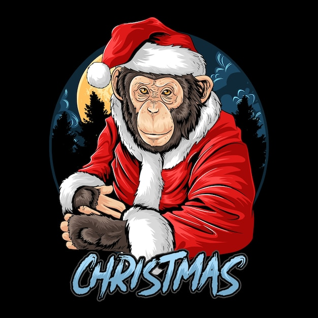 Natale babbo natale carino scimpanzé scimmia Vettore Premium