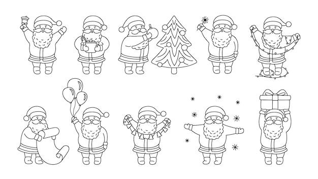 Set piatto di contorno di natale babbo natale. collezione lineare divertente personaggio felice con albero di natale, regalo e ghirlanda, palloncini o elenco. Vettore Premium