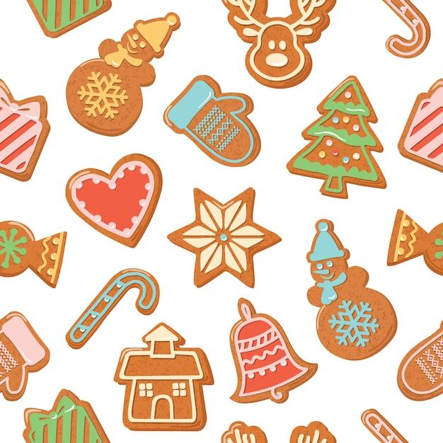 Natale senza soluzione di sfondo. biscotti di panpepato colorati. Vettore Premium